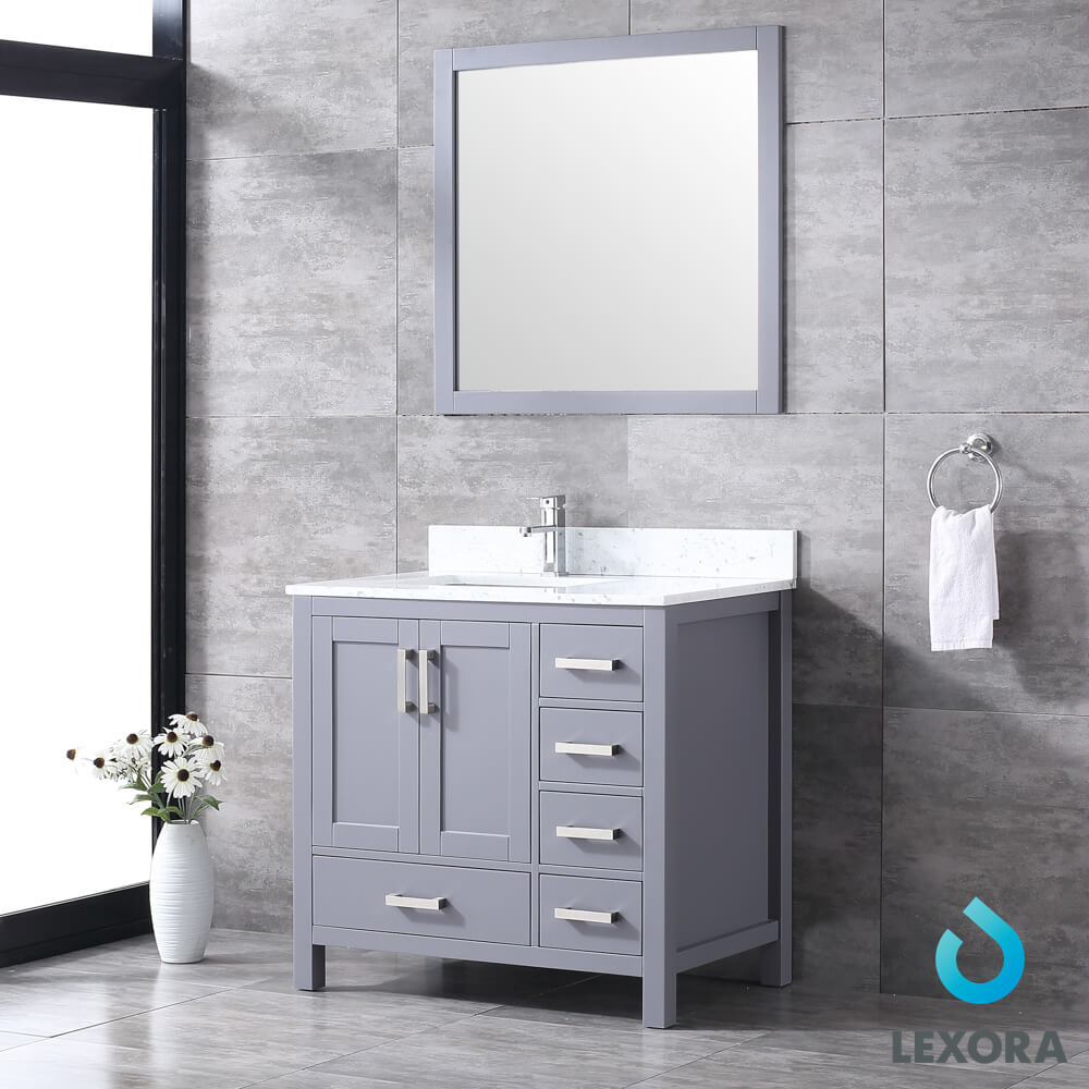 Jaques 36″ Single Vanity Dark Grey, White Carrera Marble Top, White ...