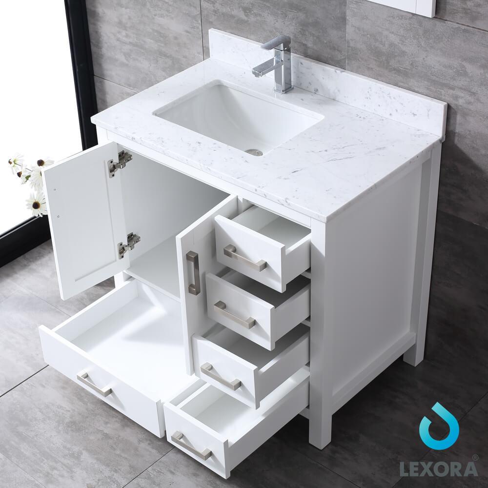 Jacques 36 White Single Vanity White Carrara Marble Top
