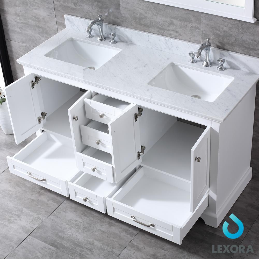 Dukes 60 White Double Vanity White Carrara Marble Top