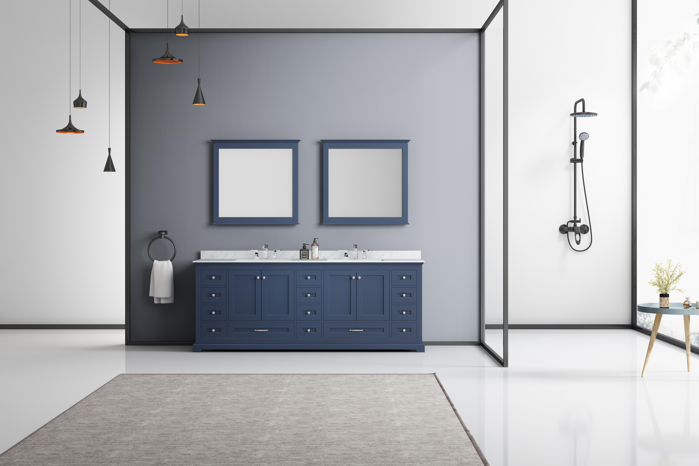 Dukes 84 Navy Blue Double Vanity White Carrara Marble Top White Square Sinks And 34 Mirrors Lexora