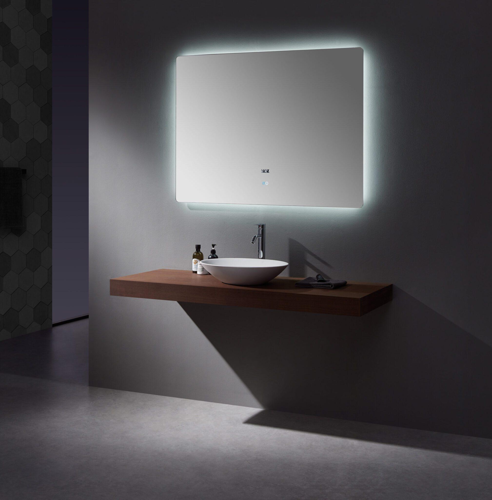 Lugano 48 Wide X 36 Tall Led Mirror W Defogger Lexora