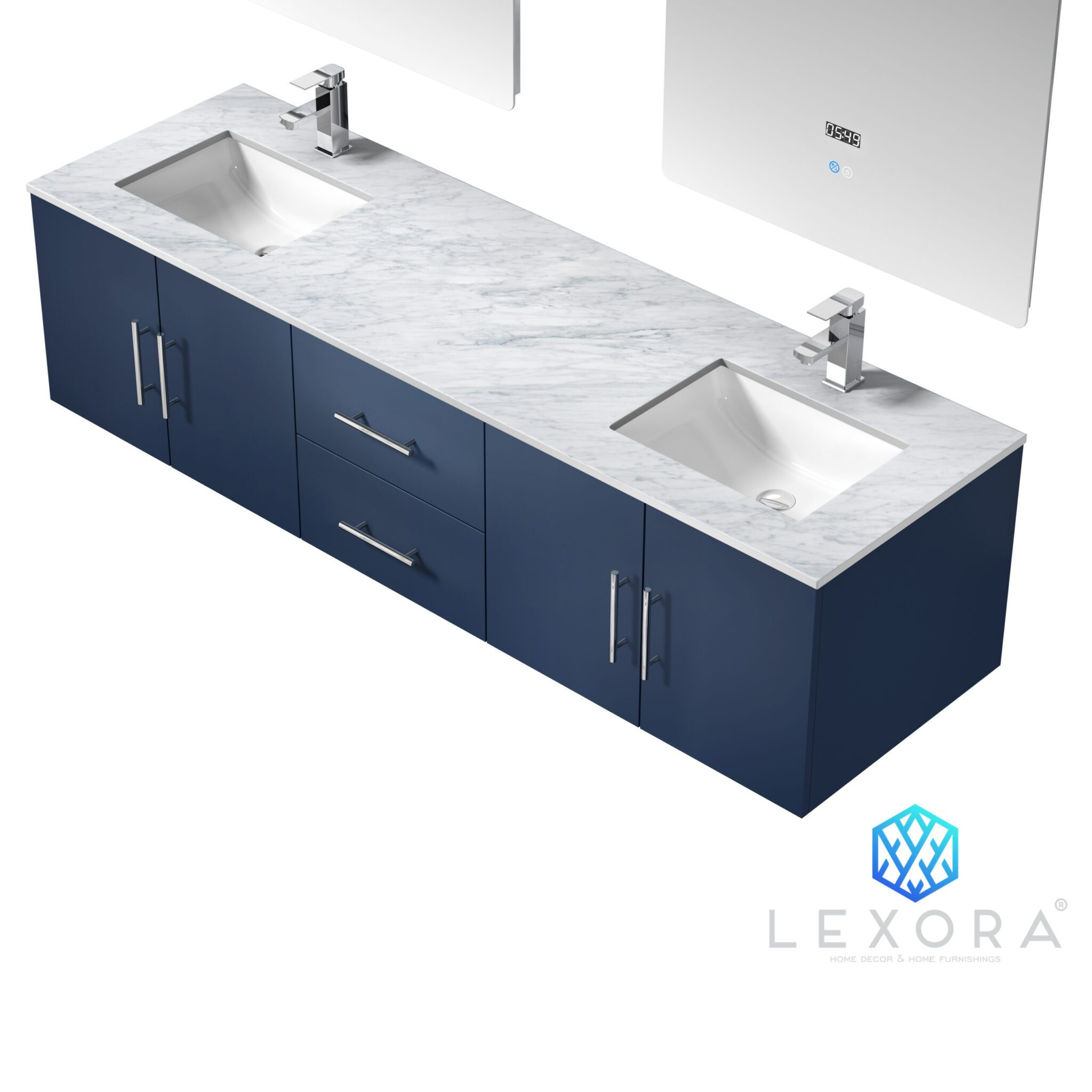 Geneva 72 Navy Blue Double Vanity White Carrara Marble Top White Square Sinks And 30 Led Mirrors W Faucets Lexora